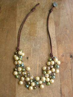 Uncinetto collana di perle cuoio frizzante pettorina
