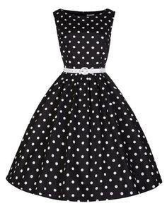 Women Summer Polka Dot Retro Dresses. ILover Classic Audrey Hepburn Boat  Neck Black Swing Retro Vintage Dress Large) ... db8830fbb82a