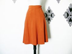 Vintage 40s Rust Orange Brown Paneled Swing Skirt XS Knee Length Rayon Flared by PopFizzVintage on Etsy