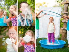 More for our bubble party: Using flyswatters, seives, funnels, and anything other materials like the aforementioned.
