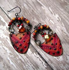eco friendly, recycled tin, dangle, assemblage, colorful, boho gypsy, etched metal earrings by Anvil Artifacts.