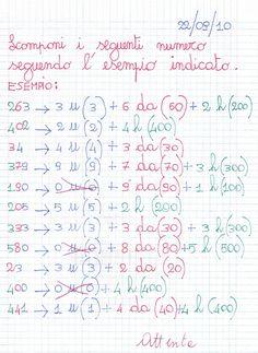 Scomponi i seguenti numeri seguendo l'esempio indicato. Dettato di numeri entro il 500 Equivalenze ...