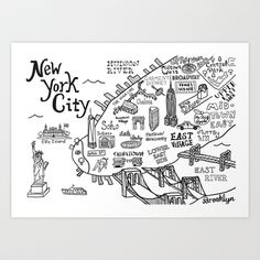 Illustrated New York City Map - Claire Lordon