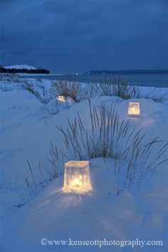 """Ice Lanterns throughout the dunes ❆ A very Happy New Year to Tonya and all the wonderful contributors to """"Summertime in New England."""""""