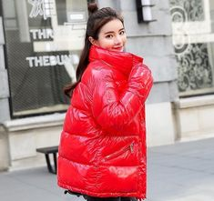 Winter Fashion Metal Solid Black Red Bright Jackets Coats