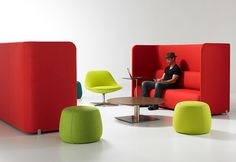 steelcase: another high-back sofa and ... gumdrop ottomans?