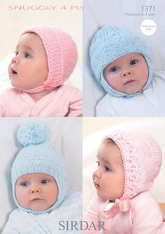 Sirdar knitting pattern 1371 - Baby Hats in Sirdar Snuggly 4 ply yarn.Ages premature to 3 years.Original paper pattern, not a PDF. Sirdar Knitting Patterns, Crochet Patterns, Crochet Yarn, Knitting Yarn, Charity Knitting, Crochet Crafts, Baby Helmet, 4 Ply Yarn, Baby Bonnets