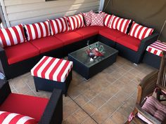 Beverley said that she liked that she could visually see the fabrics Outdoor Doors, Outdoor Chairs, Indoor Outdoor, Outdoor Living, Outdoor Furniture, Sunbrella Outdoor Cushions, Patio Cushions, Throw Cushions, Cushion Inspiration