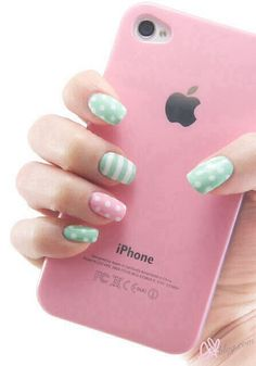 Cute and fun pastel coloured spotty and stripy nail art for teens! Like this photo and please please please follow my board if you like the photos i post:) <3