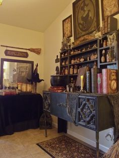 Dresser in apothecary shoppe. Jen& note: I LOVE this! I do a witch& shop every year (I even have some of the same props), but this is the best display I& seen yet! Halloween Forum, Holidays Halloween, Halloween Crafts, Halloween Decorations, Halloween Garage, Halloween Kitchen, Halloween 2019, Halloween Ideas, Halloween Party