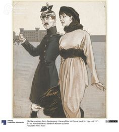Ulan officer and a lady walking,  drawing by Otto Maquardsen, ca.1914. Courtesy Anna Russ, Kunstbibliothek, Staatliche Museen zu Berlin, CC BY NC SA.