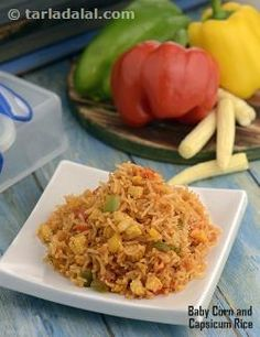 Baby Corn and Capsicum Rice ( Tiffin Treats)