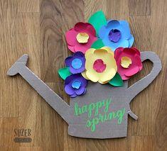 Watering Can and Spring Flowers Door Decoration - New Deko Sites Door Decoration For Preschool, School Door Decorations, Spring Crafts For Kids, Summer Crafts, Easter Crafts For Seniors, Door Crafts, Easter Egg Crafts, Spring Door, Flower Crafts