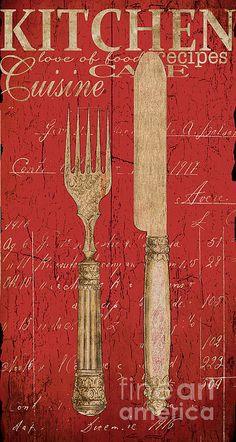 Vintage Kitchen Utensils In Red Print by Grace Pullen