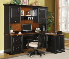 Hutch with drawers. Black Bush L-Shaped Computer Desk with Hutch