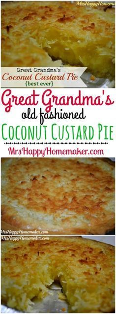 Old fashioned heritage recipes are the very best. This Coconut Custard Pie is just that.... the recipe was handed down to me by my Great Grandmother & I'm passing it on to all of you. We call it the best ever 'round these parts. ;)  | MrsHappyHomemaker.com @thathousewife