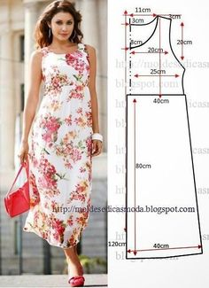 Moldes Moda por Medida: VESTIDO FÁCIL DE FAZER - 33 - Like this dress because the neck line is higher than most dresses I have seen. Diy Clothing, Sewing Clothes, Dress Sewing Patterns, Clothing Patterns, Fashion Sewing, Diy Fashion, Diy Kleidung, Diy Vetement, Diy Dress