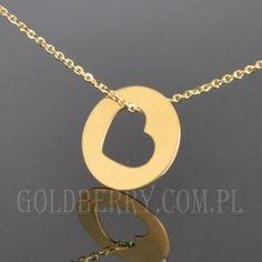 #Złoty #naszyjnik celebrytka #kółeczko z SERCEM #goldberry