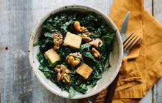 Coconut Rice, Tofu, and Kale Salad Recipe - Bon Appétit Kale Salad Recipes, Vegetarian Recipes, Cooking Recipes, Healthy Recipes, Kale Salads, Cooking Ideas, Healthy Meals, Healthy Food, Tofu Salad