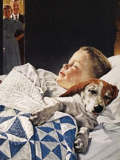 """""""A Boy And His Dog"""" by Norman Rockwell. He was a American painter and illustrator. Rockwell is most famous for the cover illustrations he created for The Saturday Evening Post magazine for more than four decades Peintures Norman Rockwell, Norman Rockwell Art, Norman Rockwell Paintings, Illustrations, Illustration Art, Dog Art, American Artists, Mail Art, Vintage Art"""
