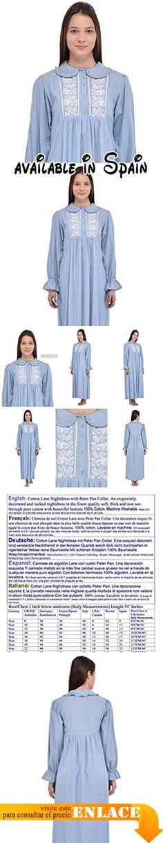 B0772X2GLD : Cotton Lane - Camisón - para mujer Azul Blue Chambray.