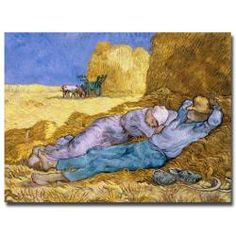 This ready to hang, gallery-wrapped art piece features a man and woman taking a nap on hay. Vincent van Gogh was a Dutch post-Impressionist painter whose work, notable for its rough beauty, emotional