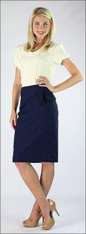 Navy Side Peplum Skirt – ModestPop.com