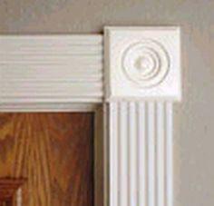 bullseye rosette and fluted molding door casing Cabinet Molding, Door Molding, Moldings And Trim, Crown Molding, Moulding, Interior Trim, Interior Doors, Interior Paint, Plinth Blocks