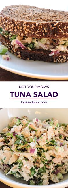 Not Your Mom's Tuna Salad - Love & Porc This Picture by tabithagolden The Recipe can be found HERE I do not take credit for this salad recipe or . Tuna Recipes, Seafood Recipes, Salad Recipes, Cooking Recipes, Healthy Snacks, Healthy Eating, Healthy Recipes, Healthy Tuna Salad, Snack Recipes