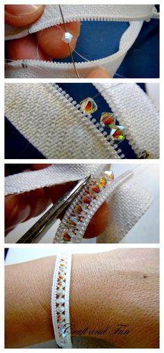 Zipper bracelet with bling