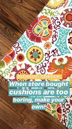 Outdoor Cushions (+Tips to Make Your Own! Outdoor Chair Cushions Diy, Outdoor Cushion Covers, Cushions To Make, Slipcovers For Chairs, Foam Cushions, Outdoor Chairs, Outdoor Seating, Outdoor Furniture, Sewing Crafts