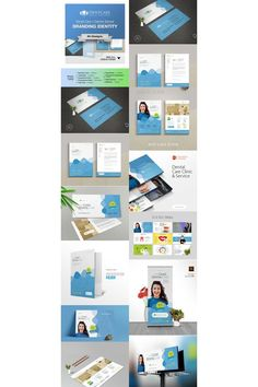 Dental Care Dentist Hospital Branding Corporate Identity Template Letterhead Design, Stationery Design, Presentation Folder, Presentation Design, Business Flyer, Business Card Design, Corporate Identity Design, Folder Design, Slide Design