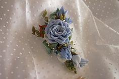 Blue rose and rosebuds ribbonwork applique