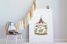 Carousel Illustration, UNFRAMED Big childrens picture, Extra Large kids print, Circus poster, Merry go round, Fun Fair Theme, Nursery Art