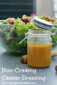 Non-Creamy Caesar Dressing- all the garlic with less calories! Perfect for a light and fresh summer salad, to marinate or toss on grilled veggies! | www.savoryexperiments.com