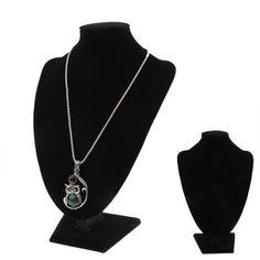 [$3.90] Black Leatherette Necklace Pendant Chain Jewelry Display holder, Size: 26 x 18 x 10cm(Black)