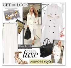 """""""Airport Style: Blake Lively"""" by akchesunel ❤ liked on Polyvore featuring Burberry, NARS Cosmetics, Emporio Armani, By Terry, Alessandra Rich, Chanel, Gianvito Rossi, H&M, GetTheLook and chic"""