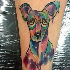 tatuaje sobre perros a color