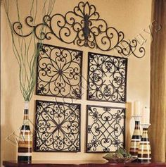 Next Post Previous Post Easy DIY Iron Wall Art! Square Wrought Iron Wall Grille Decor Medallions More Next Post Previous. Simple Wall Art, Easy Wall, Wrought Iron Wall Decor, Rod Iron Decor, Outdoor Metal Wall Decor, Patio Wall Decor, Outdoor Art, Decoration Shabby, Wall Decorations