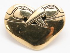 Laurel Burch Vintage Goldtone Double Bird Heart Brooch Pin #LaurelBurch