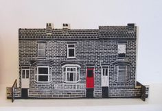 Terraced houses red door by SamGroomPrintmaker on Etsy Sam Groom, Mantle Shelf, Drawing Style, Lino Prints, Window Sill, Sheffield, Terrace, Bedrooms, Photograph