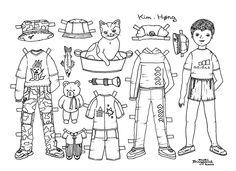 Girl and Boy Paper Dolls to Print and Colour. Pige og drenge påklædningsdukker til farvelægning. - Karen Bisgaard - Picasa Webalbum