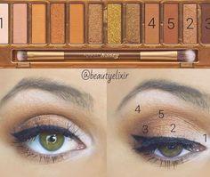 Eye Makeup Steps, Makeup Eye Looks, Makeup Tips, Makeup Tutorials, Urban Decay Eyeshadow Palette, Naked Palette, Blush Makeup, Eyeshadow Makeup, Maquillage Urban Decay