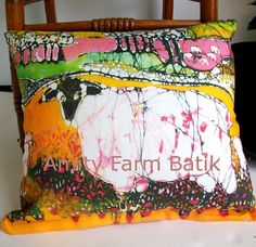 This pillow is 16.5 x 16.5 and is created from custom printed fabric of my original batik Sheep on a Sunny Summer Day You can find prints of it as