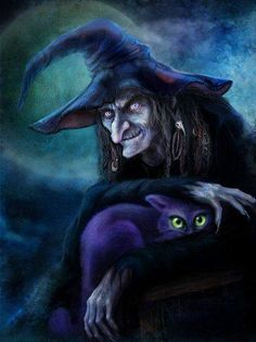 """""""No, dear...I am the witch!  The thing that looks like a wicked old hag is actually my costume for Halloween."""" ... signed, Ink the Cat."""