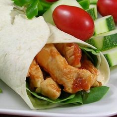 """Simple Sweet and Spicy Chicken Wraps I """"Such an excellent way to use up chicken in the fridge for a nice quick supper or lunch!!! LOVE the flavors."""""""