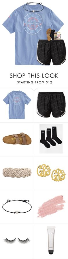 """""""guys where's lily"""" by evieleet ❤ liked on Polyvore featuring NIKE, Birkenstock, Swell, Jane Iredale, Rimini and MAC Cosmetics"""