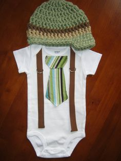 Get The Set - Green and Brown Striped Tie Boy Onesie or Shirt with Suspenders and Visor Crocheted Hat - Size NB to 12 years. $34.00, via Etsy.