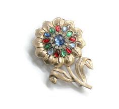 Versatile Colors Shiny Rich Gold Tone Metal Big Style Bright Clear Rhinestones Long Tall Sunflower Shaped Vintage Sunflower Brooch