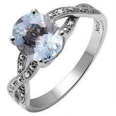 10K White Gold Diamond and Aquamarine Ring, Retail $610 http://www.propertyroom.com/l/l/9644847